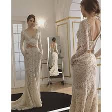 elegant beige wedding dresses 2017 v neck long sleeve lace pearls