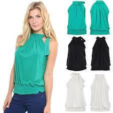 elastic waist blouse whole sale stylish s casual halter fashion