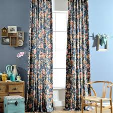 Retro Window Curtains Exclusive Fabrics Teal Hand Woven Cotton Blend Curtain Panel Dark