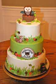 baby shower cake themed after beby bedding wild animals baby