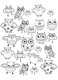 doodle owls 1 animals coloring pages for adults justcolor
