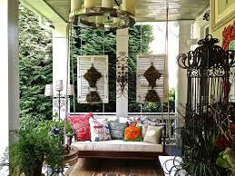 exterior enchanting porch design with linear chandelier and porch