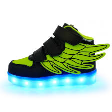 led light up shoes for boys kids fluorescent green led light up shoes with wings as gift