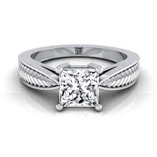princess cut engagement rings white gold princess cut engagement ring with textured leaf design in 14k