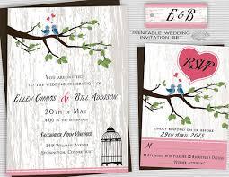 Love Bird Wedding Invitations Printable Backyard Wedding Invitations Country Wedding Invites