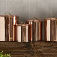 copper kitchen canister sets birch koppel 4 kitchen canister set reviews birch