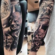 batman minion tattoo mens full arm sleeve batman themed tattoo design inspiration