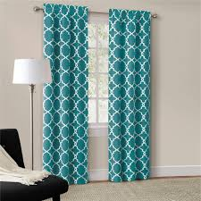 teal blue curtains bedrooms set of 2 modern trendy interlock geometric curtains panels drapes