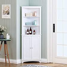 corner storage cabinet in kitchen spirich home corner cabinet with two doors and three tier shelves free standing corner storage cabinet for bathroom kitchen living room or