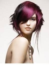 hair color highlight burgundy red bob cut funky beautiful