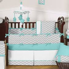 gray and turquoise chevron zig zag baby bedding 9 pc crib set by