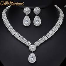 bridal jewelry cwwzircons white gold color luxury bridal cz necklace and