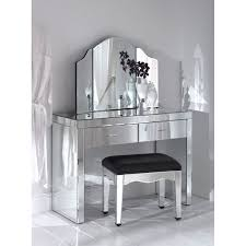 Antique Vanity Table Vintage Vanity Table With Frameless Mirror And Black Upholstered