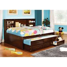 Full Platform Bed With Headboard Shop Furniture Of America Hardin Cherry Platform Bed At Lowes Com