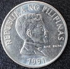 1991 phillipines piso peso coin money fillipinas jose rizal anoa