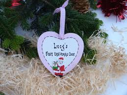 personalised baby u0027s first 1st christmas heart plaque christmas