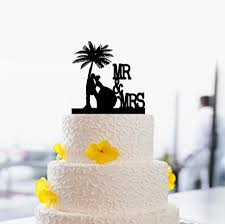 beach wedding cake topper personalized with your surname cake