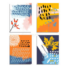artistic abstract hand drawn cards invitations autumn fall color