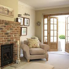 interior living room with brick fireplace decorating ideas