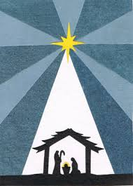 yellow and blue shining nativity themed card