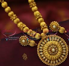 gold plated bead necklace images Nl5263 antique gold plated beads mala round pendant fashion JPG