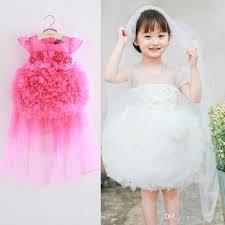 2017 summer girls princess dresses flower wedding dress veil