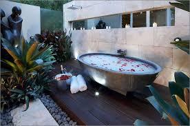 Outdoor Bathtubs Ideas Bathroom Exotic Outdoor Bathroom Decor With Grey Stone Oval