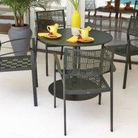 Iron Patio Dining Set Furniture Black Iron Patio Round Table With Chair Placed On White