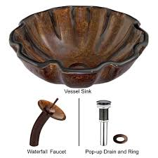 vigo glass vessel sink in walnut shell with waterfall faucet set