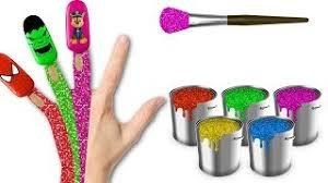 learn colors kids body paint spiderman lollipops finger family