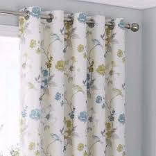 Floral Lined Curtains Anya Floral Lined Eyelet Curtains Blue Readymade Ring Top