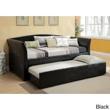 Modern Daybed With Trundle Furniture Dark Brown Wooden Modern Daybed With Trundle Having