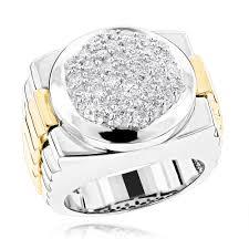 diamonds rings com images Mens 14k two tone gold diamond ring with pave round diamonds 2 04ct jpg