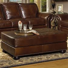 Leather Chair With Ottoman Usa Premium Leather 8555 Cocktail Ottoman W Nailhead Trim