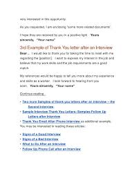 sample job interview thank you letter thank you letter after a job interview