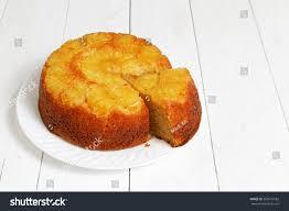 homemade pineapple upside down cake piece stock photo 556975582