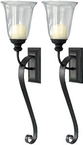 Hurricane Candle Wall Sconces Set Of Two Candle Holder Sconces With Tall Hurricanes Large Black