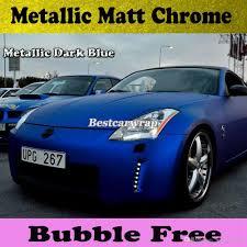matte blue nissan 350z 2018 premium blue satin chrome vinyl car wrap with air release