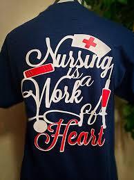 nursing is a work of heart monogram t shirt by carolinasilhouettes