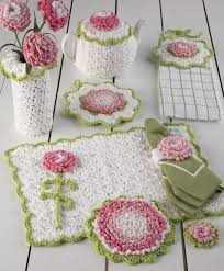 Crochet Patterns For Home Decor Carnation Kitchen Set Crochet Pattern Crochet Everything