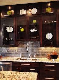 Kitchen Cabinets Granite Countertops by Kitchens Glass Front Espresso Stained Kitchen Cabinets Gold