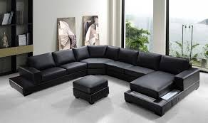 Black Leather Sofa With Chaise Furniture Black Leather Modern Sectional Sofas With Chaise For