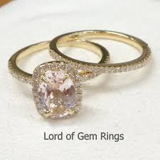 Promise Engagement And Wedding Ring Set by Wedding Ring Sets Claw Prongs Oval Cut Pink Morganite With Halo