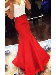 custom made white and red off shoulder mermaid prom dresses