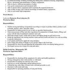 Restaurant Worker Resume Sample Baker Resume Resume For Your Job Application