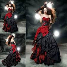 Halloween Wedding Photos by Black And Red Ball Gown Wedding Dresses Sweetheart Taffeta Floor