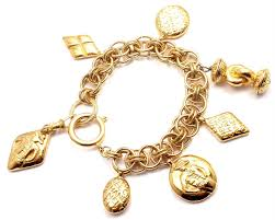 charm bracelet gold vintage images Authentic vintage chanel gold tone large chunky charm bracelet jpg