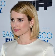 beveled hairstyles for women emma roberts long sleek bob with rounded layers and beveled ends