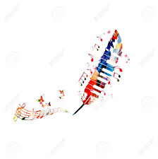 Stock Feather Flags Music Poster For Composing Colorful Music Notes With Piano Keys