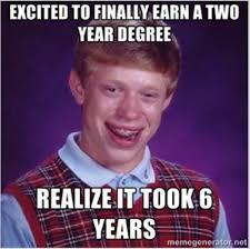 Community College Meme - finally transferring back to a university after a long detour at